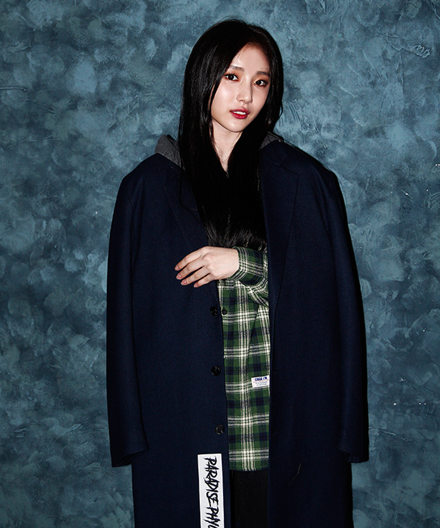 OVER FIT HEAVY SOLID T/R LONG COAT NAVY