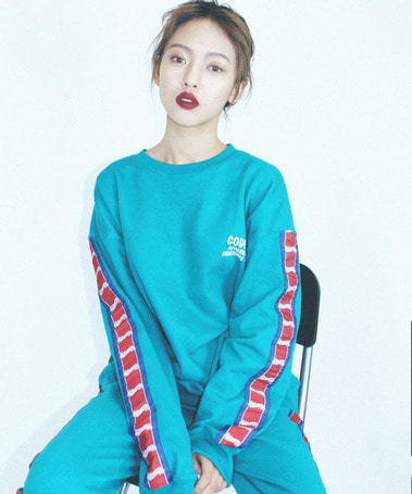 Studio tape Sweat Shirt Aqua