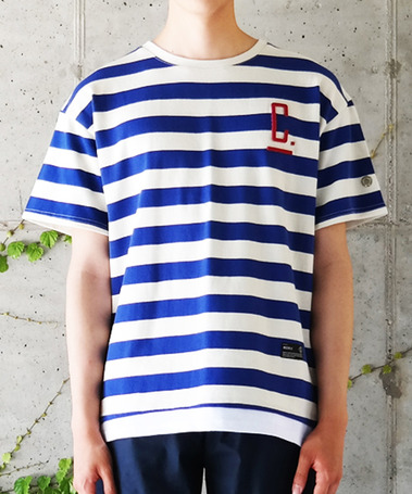 WASHED MIDDLE STRIPE OVERFIT LAYERED T-SHIRTS BLUE