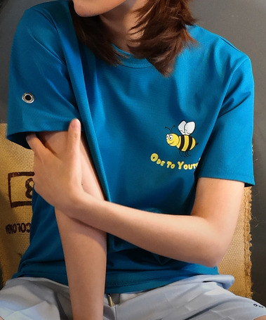 HONEY BEE PK HALF TEE AQUA